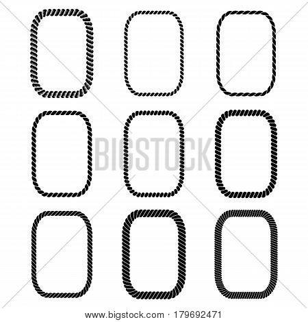 Vector set of rectangular black monochrome rope framework. Collection of thick and thin borders isolated on white background consisting of braided cord. For decoration and design in nautical style.