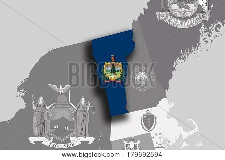 Vermont Map And Flag