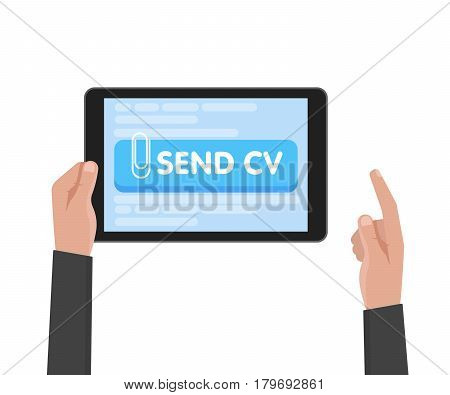 Businessman Hand Hold Tablet Computer With Resume Template. Send Cv Buttons. Work And Job Search Con