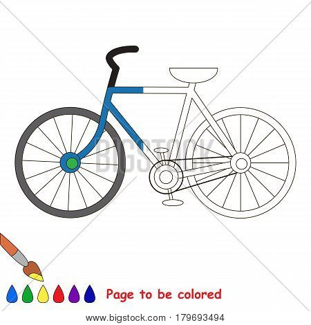 two-wheeled bicycle., the coloring book to educate preschool kids with easy gaming level, the kid educational game to color the colorless half by sample.