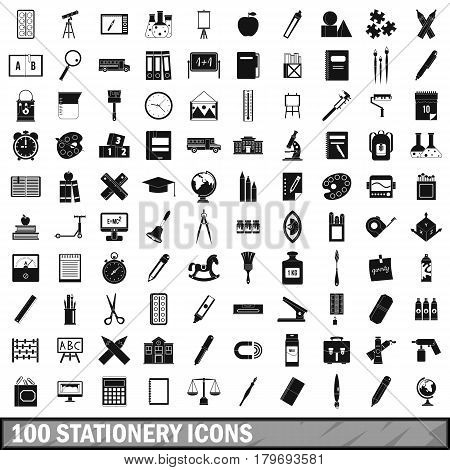 100 stationery icons set in simple style for any design vector illustration