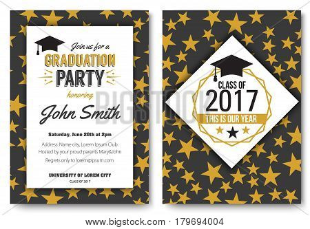 Graduation party vector template invitation to the traditional ceremony, college, university or high school student party, welcoming poster with elegant star design