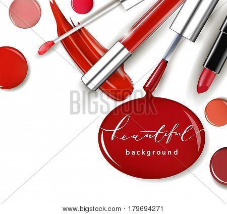 Cosmetics and fashion background with make up artist objects: lipstick ip gloss nail Polish. With place for your text .Template Vector.
