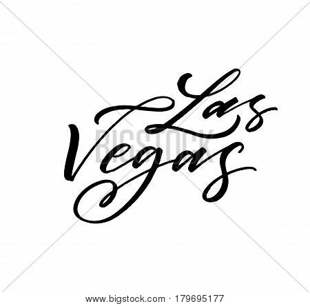 Las Vegas postcard. Ink illustration. Modern brush calligraphy. Isolated on white background.