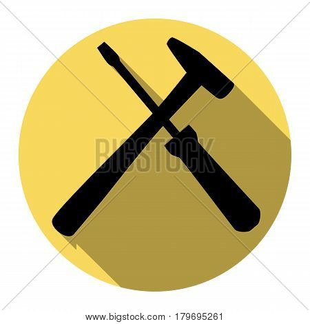Tools sign illustration. Vector. Flat black icon with flat shadow on royal yellow circle with white background. Isolated.