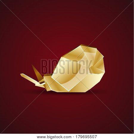 Vector golden origami snail.  Polygonal animal logo template.