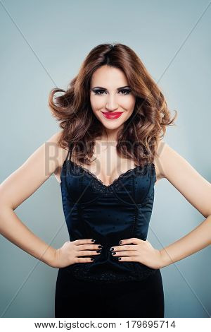 Smiling Woman Fashion Model with Permed Hairstyle