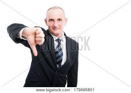 Middle Aged Elegant Man Showing Dislike Gesture