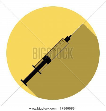 Syringe sign illustration. Vector. Flat black icon with flat shadow on royal yellow circle with white background. Isolated.
