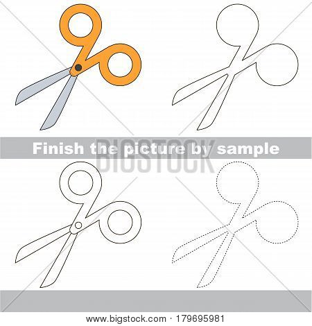 Drawing worksheet for preschool kids with easy gaming level of difficulty, simple educational game for kids to finish the picture by sample and draw the Orange Scissors