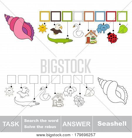 Educational puzzle game for kids. Find the hidden word Seashell.