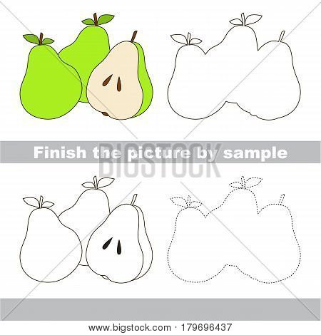 Drawing worksheet for preschool kids with easy gaming level of difficulty, simple educational game for kids to finish the picture by sample and draw the Three Pears and Half Slice
