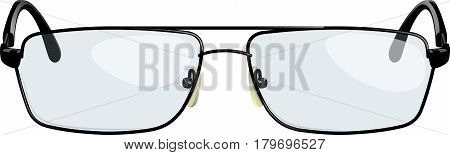 Black stylish reading glasses with transparent glasses. Front-view