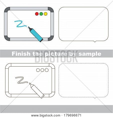 Drawing worksheet for preschool kids with easy gaming level of difficulty, simple educational game for kids to finish the picture by sample and draw the Whiteboard with marker