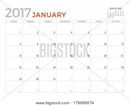 2017 Calendar Planner Vector Design Template. January. Week Starts Sunday