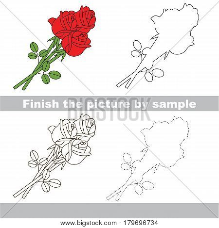 Drawing worksheet for preschool kids with easy gaming level of difficulty, simple educational game for kids to finish the picture by sample and draw the Red Rose Bouquet