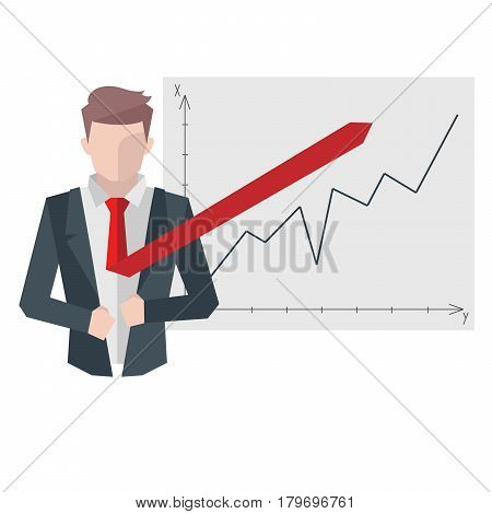 Successful businessman, business situations concept. Working in office, desire to succeed, teamwork and management. Flat vector cartoon illustration isolated on white background