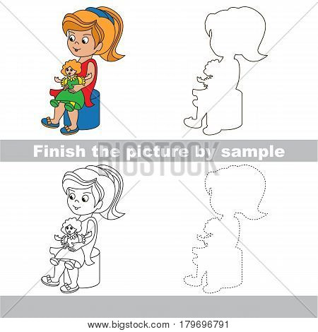 Drawing worksheet for preschool kids with easy gaming level of difficulty, simple educational game for kids to finish the picture by sample and draw the Girl with Doll