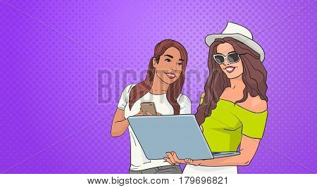 Two Young Woman Using Cell Smart Phone And Laptop Computer Over Pop Art Colorful Retro Style Background Vector Illustration