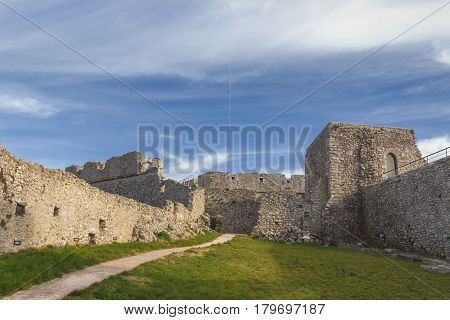 View of the Monte Sant'Angelo Castle. It is an architecture in the Apulian city of Monte Sant'Angelo, Italy. Ruins of the inner courtyard of the fortress.