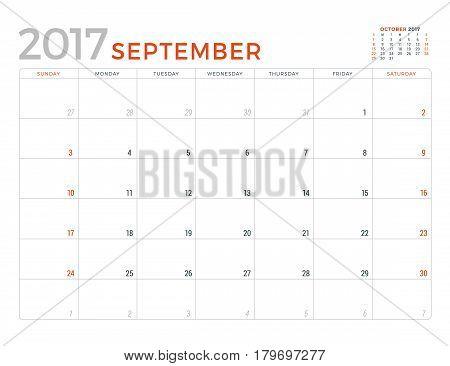 2017 Calendar Planner Vector Design Template. September. Week Starts Sunday