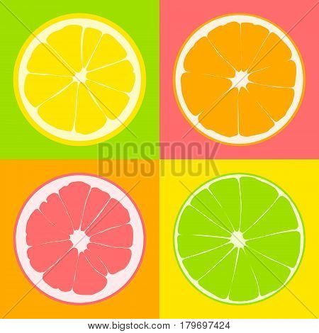 Seamless pattern. Slices of citrus: lime lemon grapefruit orange on background of yellow pink green and orange color squares.