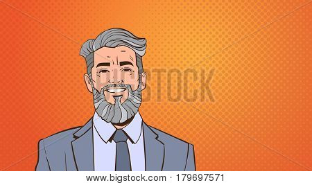 Senior Business Man Boss Portrait Over Pop Art Colorful Retro Style Vector Illustration