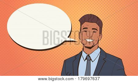 African American Business Man With Chat Bubble Pop Art Colorful Retro Style Vector Illustration