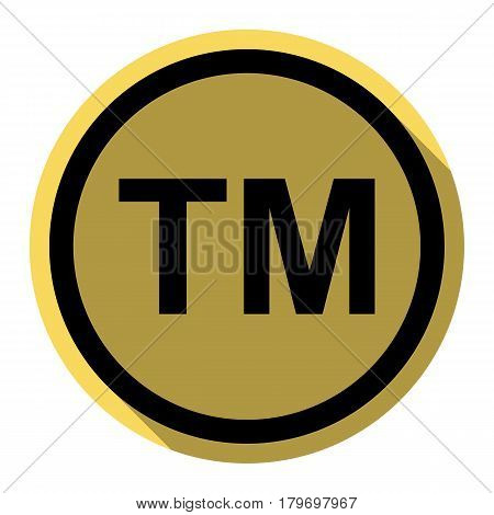 Trade mark sign. Vector. Flat black icon with flat shadow on royal yellow circle with white background. Isolated.
