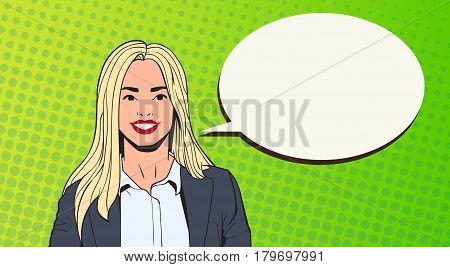 Young Business Woman With Chat Bubble Pop Art Colorful Retro Style Vector Illustration
