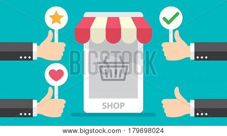 Business hand thumb up with customer review give positive feedback to online store. good feedback concept. Vector illustration. Minimal and flat design.