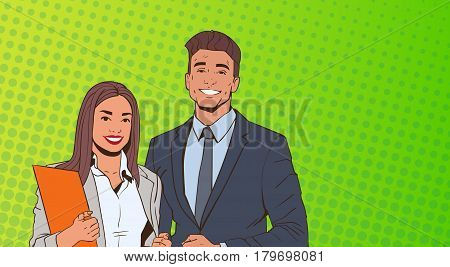 Young Business Man And Woman Over Pop Art Colorful Retro Style Background Vector Illustration