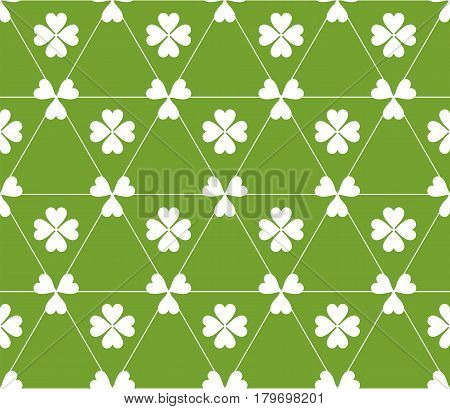 Seamless colored pattern. Print of white clovers four and three leaves and lines of triangles on green color background.