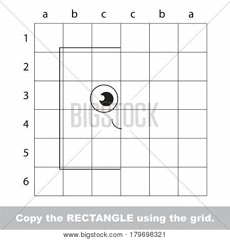 Finish the simmetry picture using grid sells, vector kid educational game for preschool kids, the drawing tutorial with easy gaming level for half of geometric shape Funny Square
