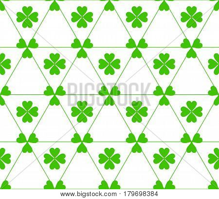 Seamless colored pattern. Print of green color clovers four and three leaves and lines of triangles on white background.