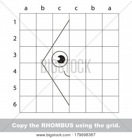 Finish the simmetry picture using grid sells, vector kid educational game for preschool kids, the drawing tutorial with easy gaming level for half of geometric shape Funny Rhombus