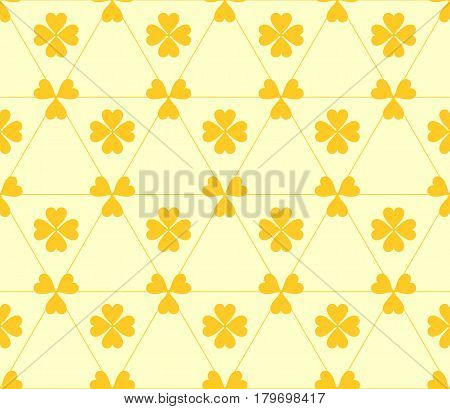 Seamless colored pattern. Print of dark yellow clovers four and three leaves and lines on light yellow background.