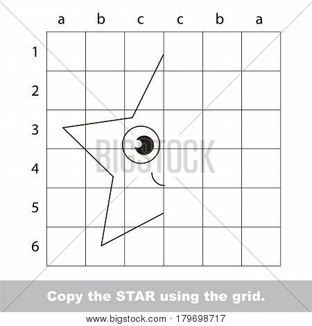 Finish the simmetry picture using grid sells, vector kid educational game for preschool kids, the drawing tutorial with easy gaming level for half of geometric shape Funny Star