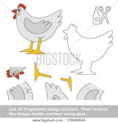 Use scissors and glue and restore the picture inside the contour. Easy educational paper game for kids. Simple kid application with White Beautiful Hen