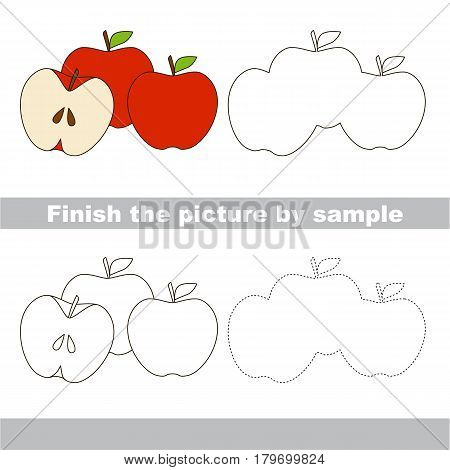 Drawing worksheet for preschool kids with easy gaming level of difficulty, simple educational game for kids to finish the picture by sample and draw the Three Red Apples.