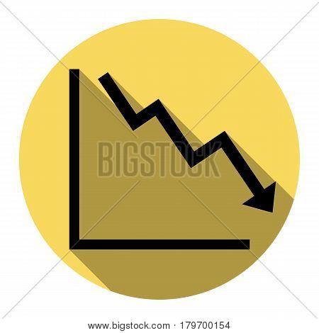 Arrow pointing downwards showing crisis. Vector. Flat black icon with flat shadow on royal yellow circle with white background. Isolated.