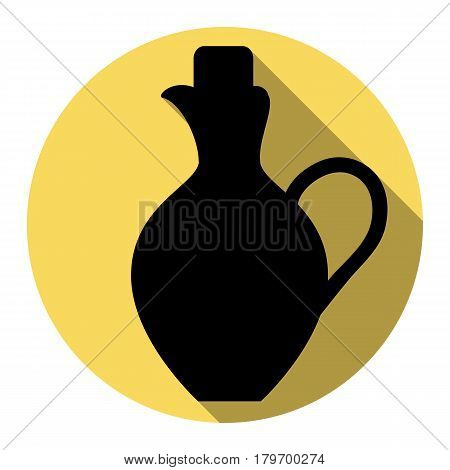 Amphora sign illustration. Vector. Flat black icon with flat shadow on royal yellow circle with white background. Isolated.