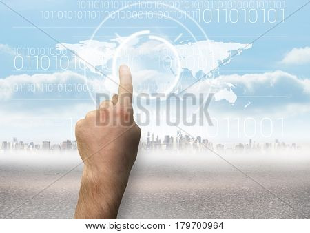 Digital composite of Hand touching pointing City with world map