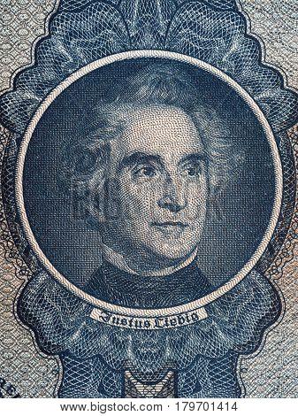 Justus von Liebig portrait from old German money