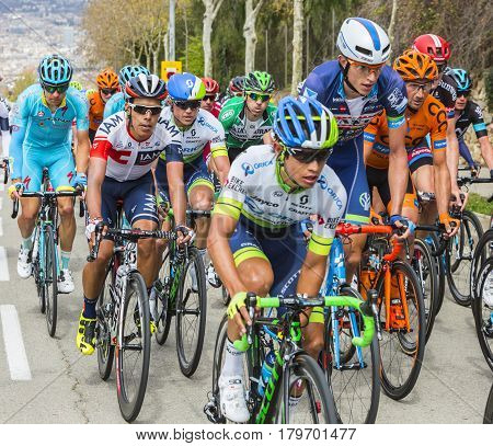 Barcelona Spain - March27 2016: The Colombian cyclist Jarlinson Pantano of Team IAM riding in the peloton on the road to the top of Montjuic in Bracelona Spain during Volta Ciclista a Catalunya on March 27 2016.