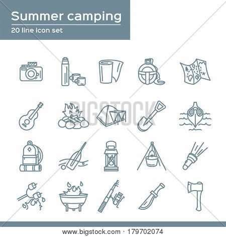 Summer camping 20 line icons set. Vector icon graphic for travel tourism Vacation: thermos, camera, flask, map, paper, guitar, campfire, tent, shovel, backpack, oar, flashlight, food, fire, fishing rod, axe, knife, BBQ, marshmallows