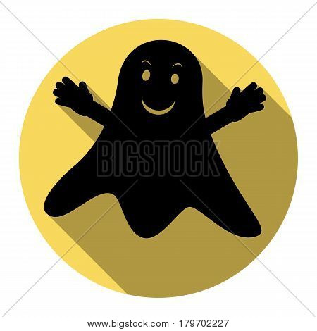 Ghost isolated sign. Vector. Flat black icon with flat shadow on royal yellow circle with white background. Isolated.