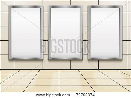 Empty mock-up three vertical billboards inside metro or subway.  Illustration isolated on white background.