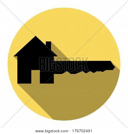Home Key sign. Vector. Flat black icon with flat shadow on royal yellow circle with white background. Isolated.