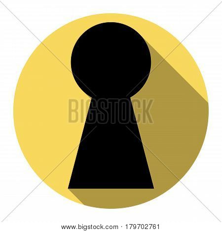 Keyhole sign illustration. Vector. Flat black icon with flat shadow on royal yellow circle with white background. Isolated.